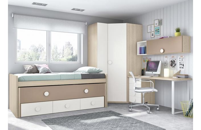 Decorar dormitorio infantil compartido for Dormitorio blanco y madera