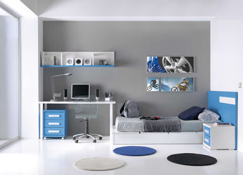 Decorar un piso de estudiantes - Habitacion juvenil azul ...
