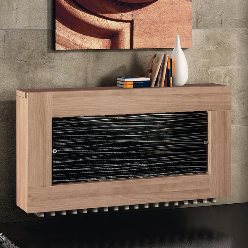 Cubreradiador moderno negro y madera