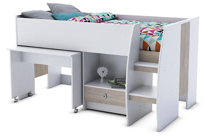 cama alta con mesa oculta