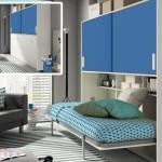 Cama abatible horizontal azul
