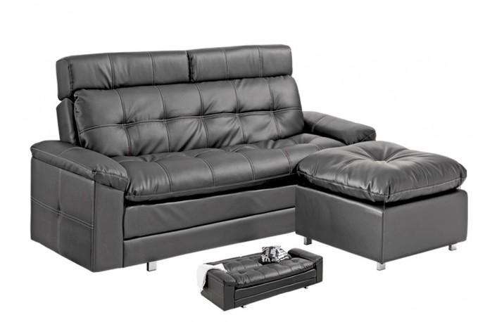 chaiselongue cama con tapizado capiton color negro - Sofas Negros
