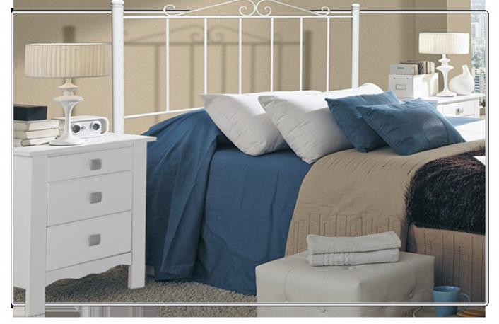 Cabecero forja color blanco para cama de 90