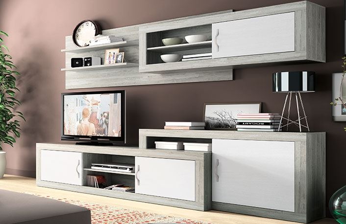El color gris en la decoraci n de salonesblog de for Mueble gris y blanco
