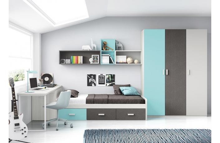 Como decorar habitaciones juveniles for Cama nido con cajones y escritorio