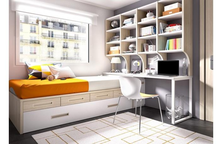 Cama compacta juvenil con escritorio y estantería grande
