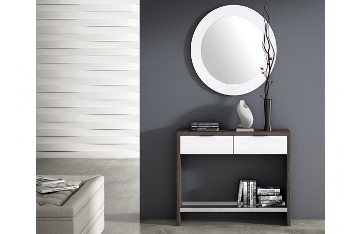 recibidor moderno con espejo redondo