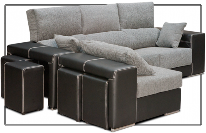 Sofas con chaise longue en el salon for Sofas de piel con chaise longue