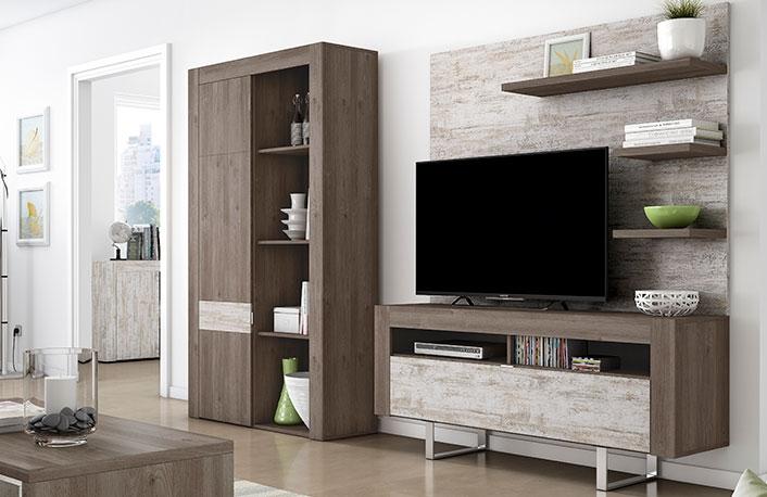 Mueble de salon de diseno moderno con texturas naturales