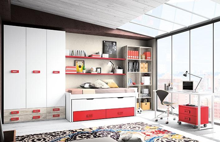 El uso del rojo en las habitaciones juveniles - Habitaciones juveniles blancas ...