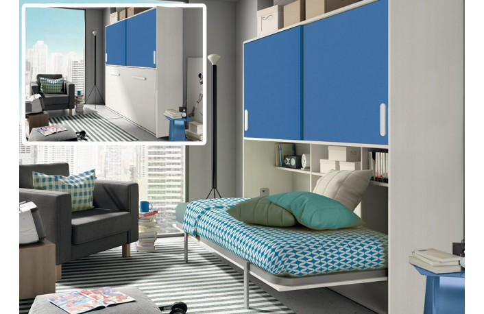 Las mejores camas para habitaciones juveniles peque as - Habitaciones juveniles camas abatibles horizontales ...