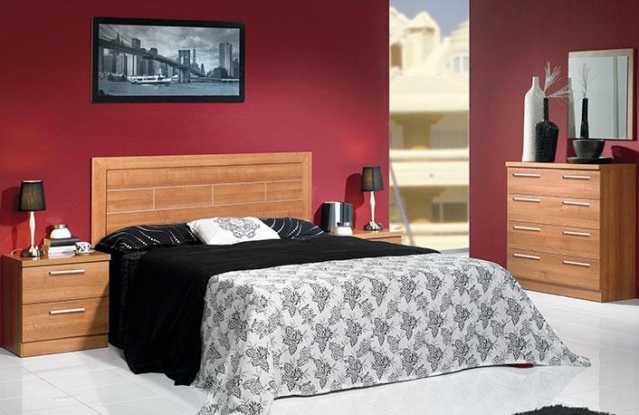 dormitorio matrimonio cabecero enmarcado con comoda