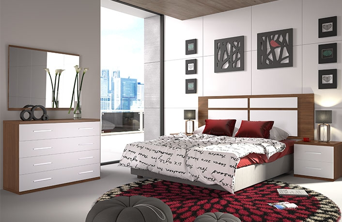 dormitorio matrimonio cabecero plafones con comoda
