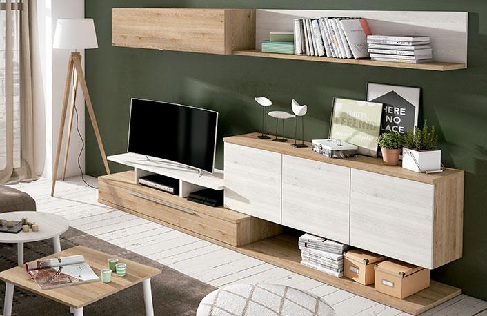 Decoraci n de salones en blanco y madera - Alfombras de madera para salon ...