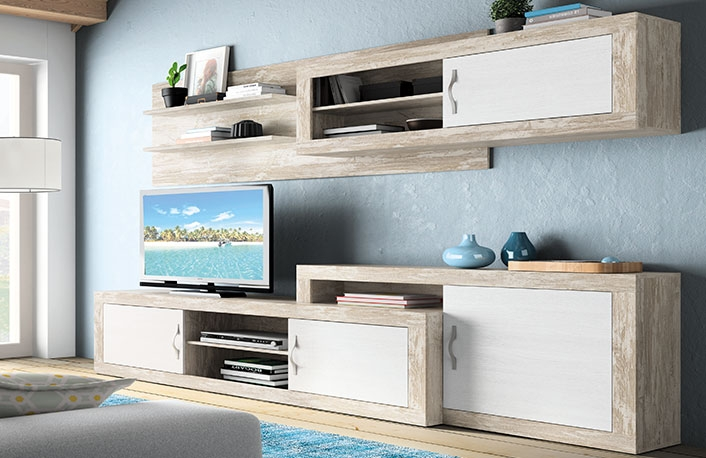 Decoraci n de salones en blanco y madera for Decoracion en blanco y madera