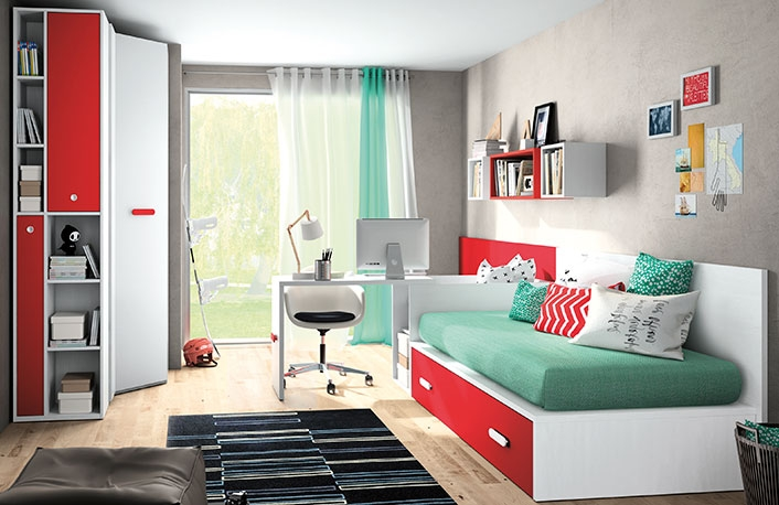 Decorar habitaciones juveniles en blanco y rojoblog de for Programa para decorar habitaciones online