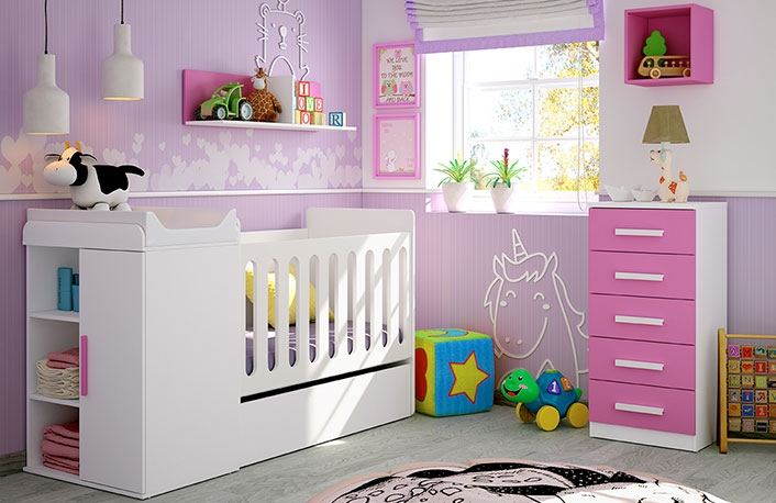 Decorar el dormitorio del bebé en blanco y rosa