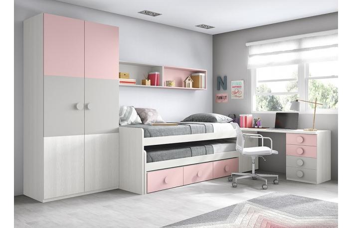 Seis camas juveniles que aprovechan el espacio for Cama nido con escritorio