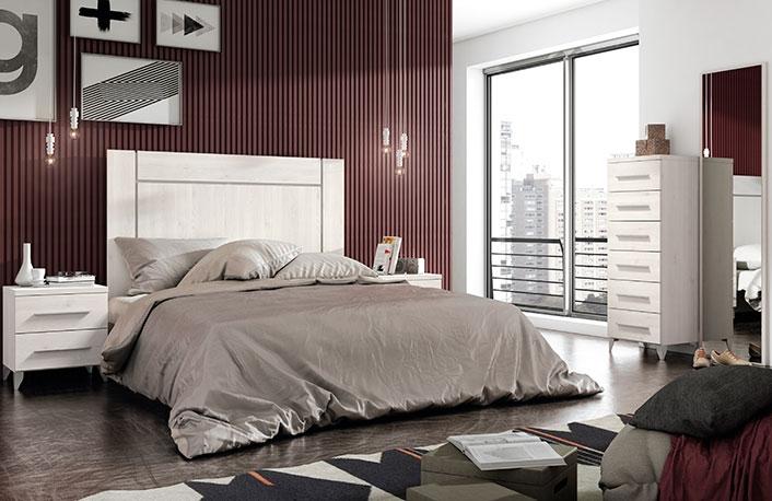 Dormitorio con sinfonier y mural espejo
